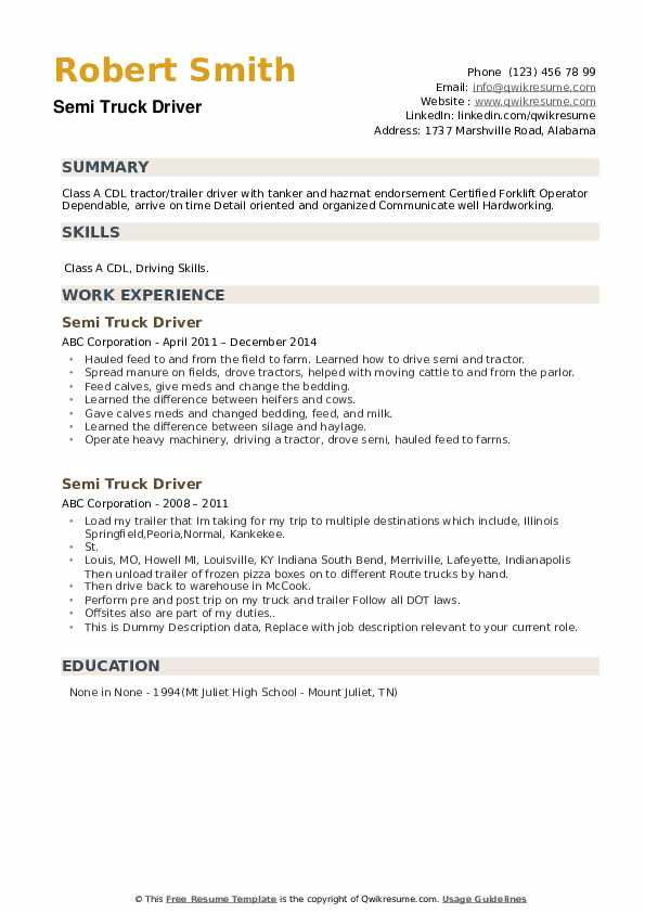 Semi Truck Driver Resume example