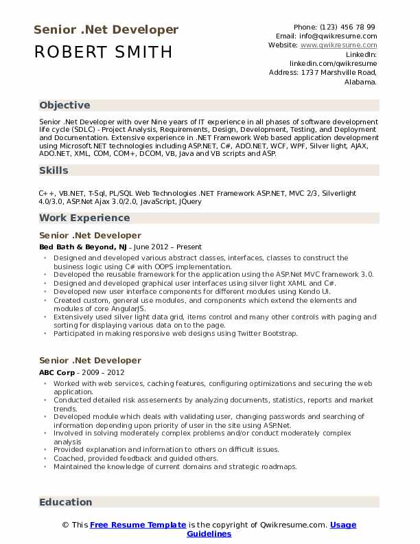 Senior  Net Developer Resume Samples | QwikResume