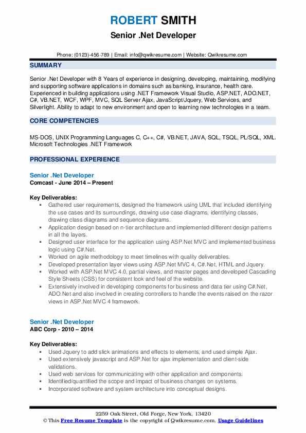 senior  net developer resume samples