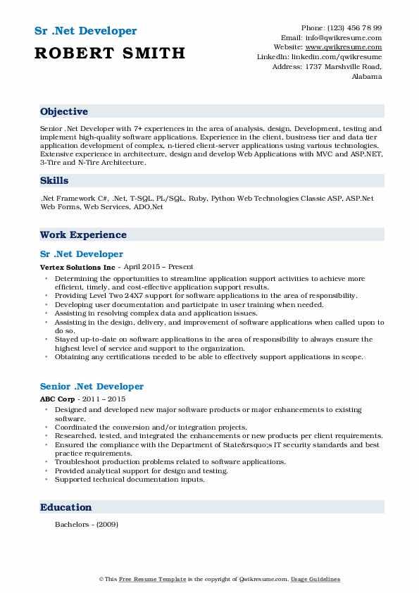 Sr .Net Developer Resume Template
