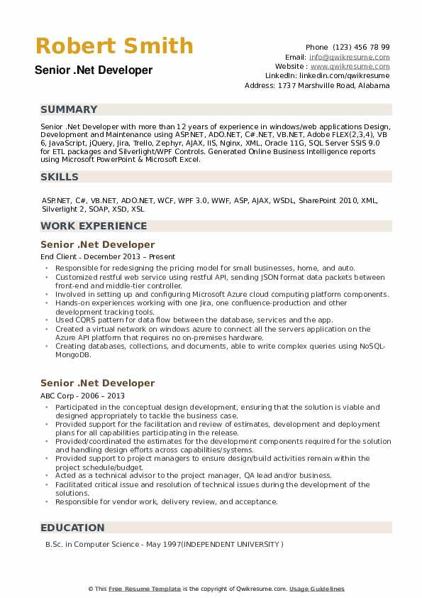 Senior Net Developer Resume Samples Qwikresume