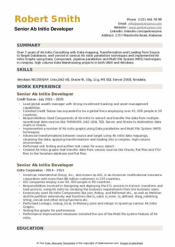 Senior AB Initio Developer Resume example