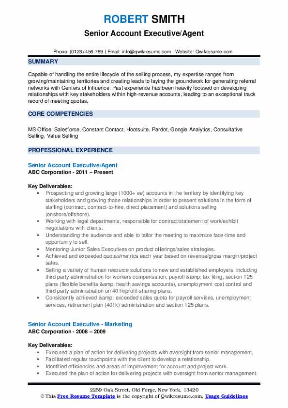 Senior Account Executive/Agent Resume Format