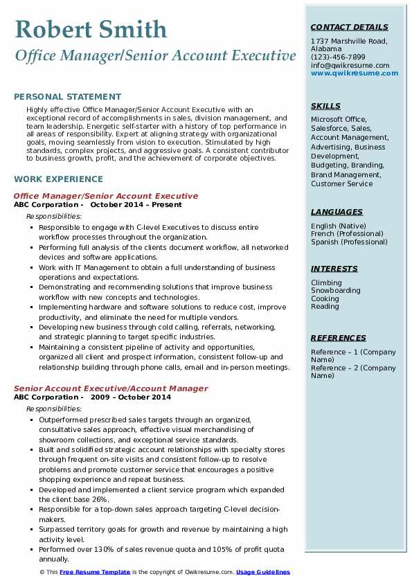 Office Manager/Senior Account Executive Resume Format