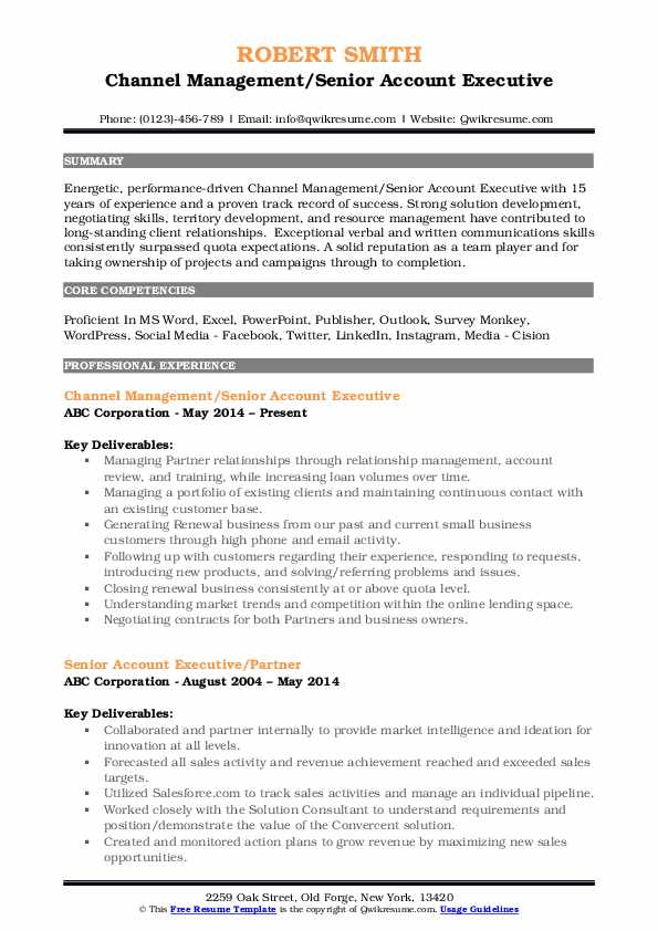 Channel Management/Senior Account Executive Resume Sample