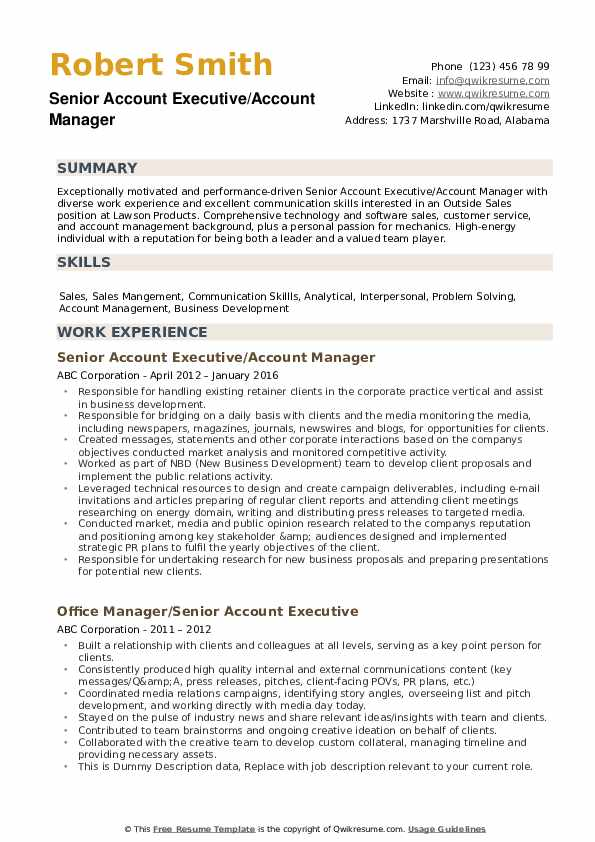 Senior Account Executive Resume Samples | QwikResume