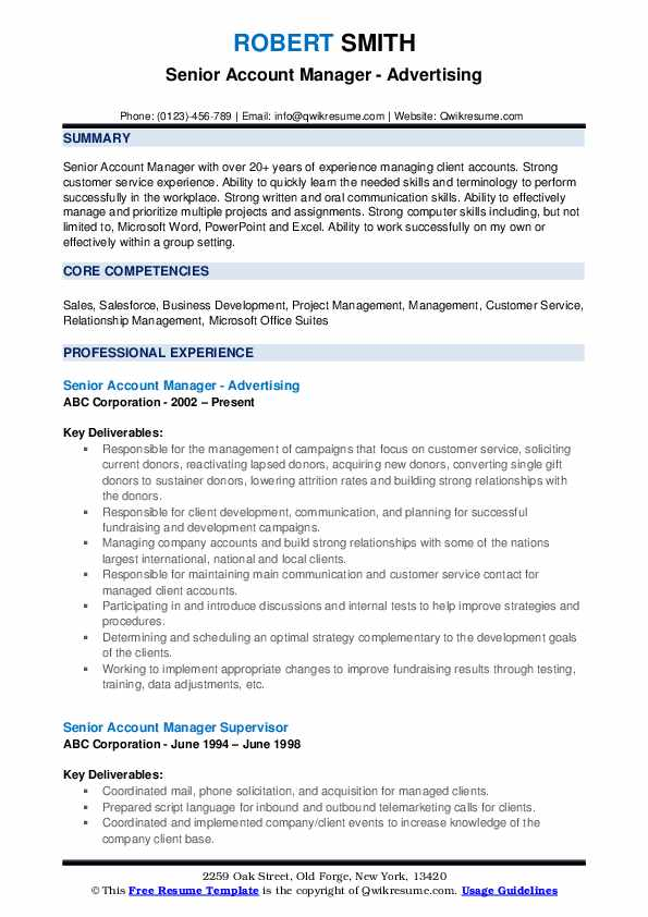 Senior Account Manager - Advertising Resume Example