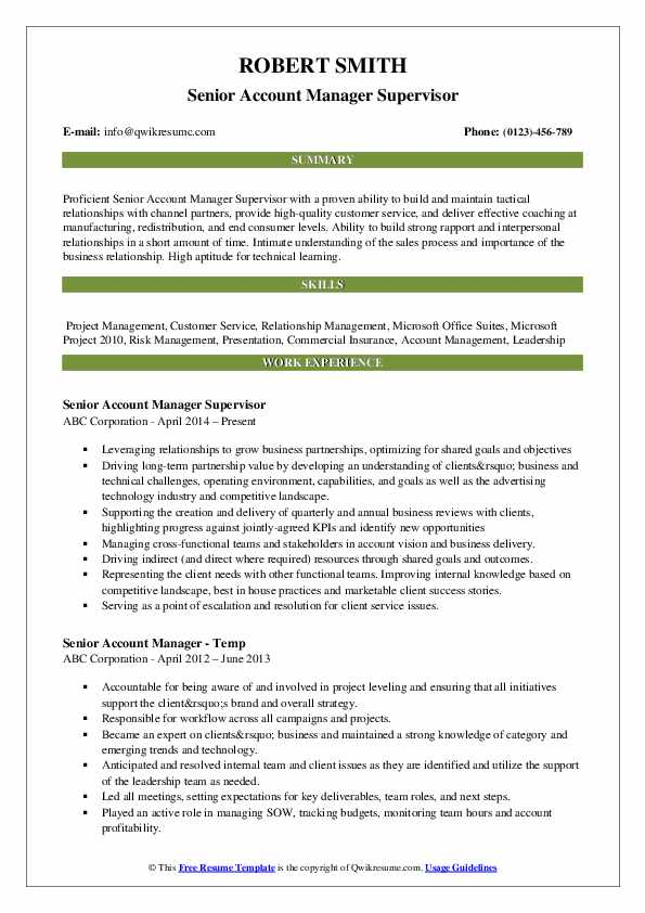 Senior Account Manager Supervisor Resume Model