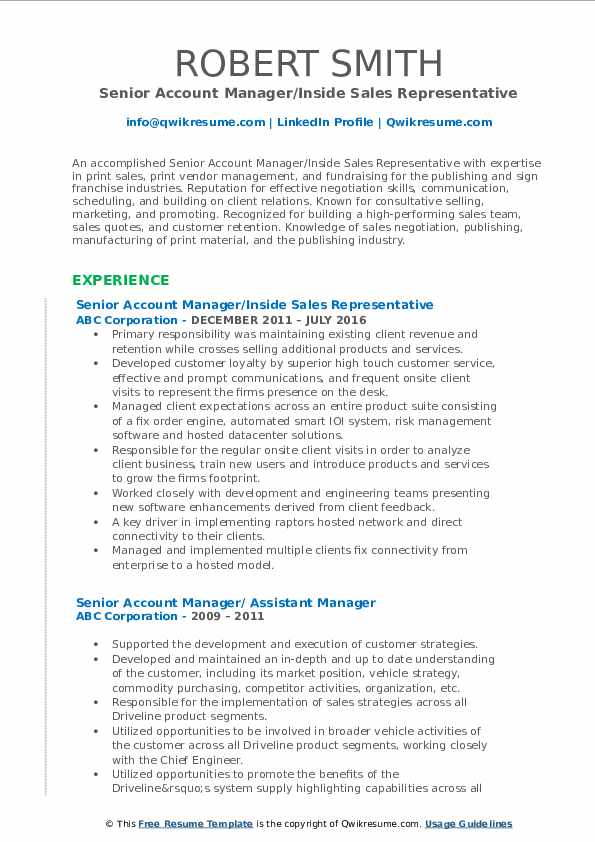 Senior Account Manager/Inside Sales Representative Resume Template
