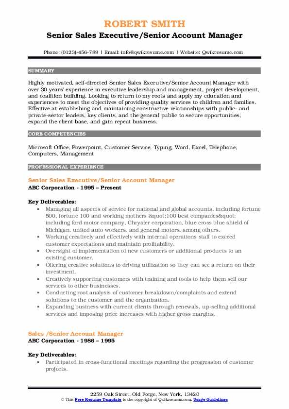Senior Sales Executive/Senior Account Manager Resume Model
