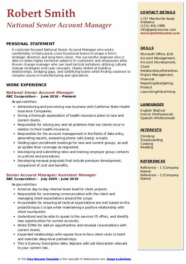 National Senior Account Manager Resume Sample