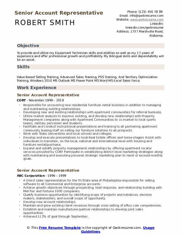 Senior Account Representative Resume Sample