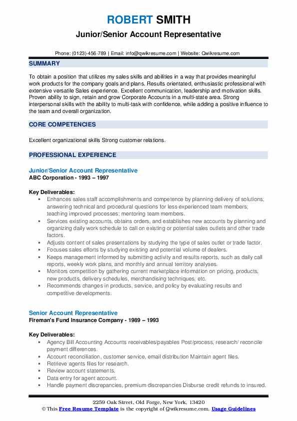 Junior/Senior Account Representative Resume Sample