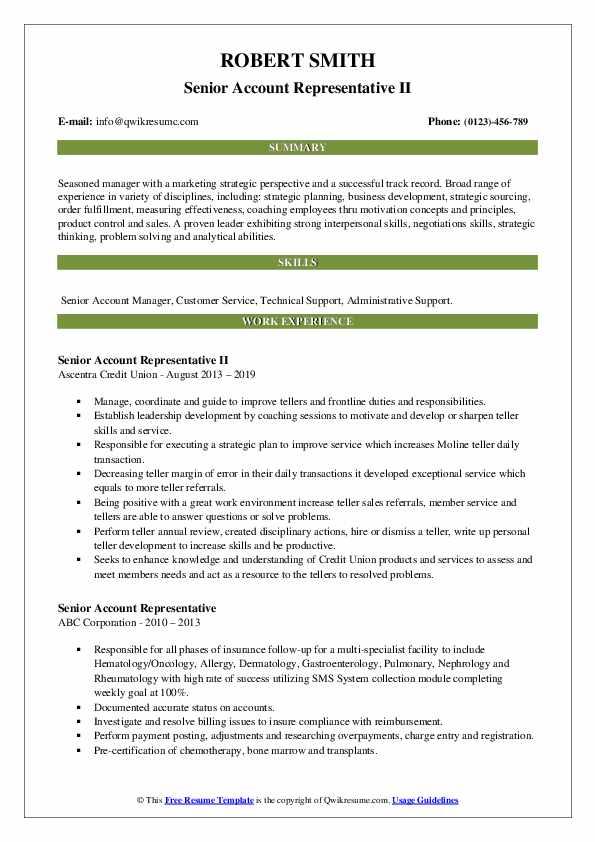 Senior Account Representative II Resume Model