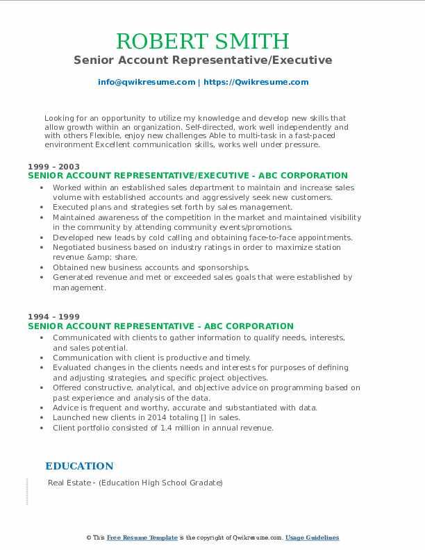 Senior Account Representative/Executive Resume Template