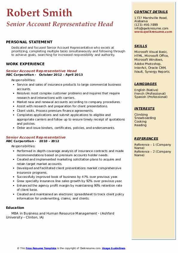 Senior Account Representative Head Resume Example
