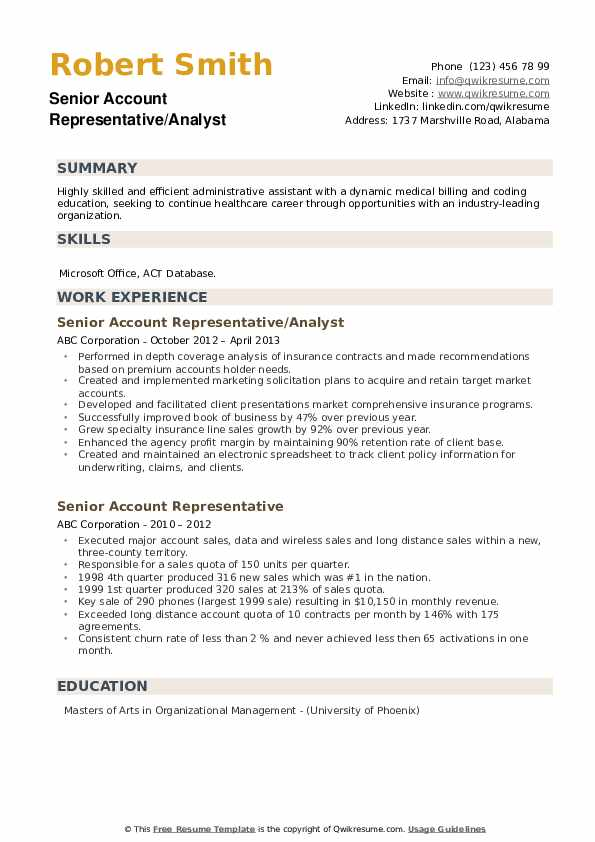 Senior Account Representative/Analyst Resume Format