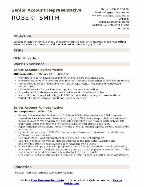 Senior Account Representative Resume example