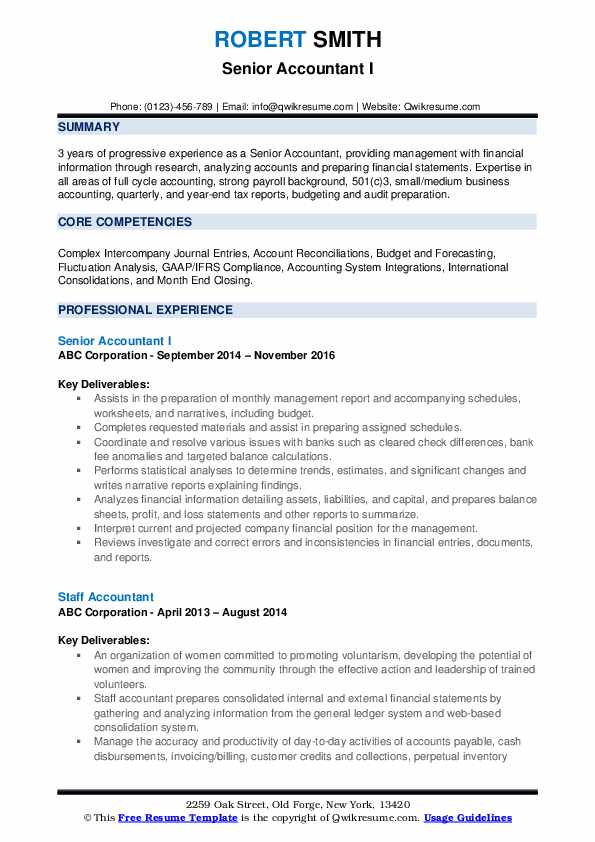 Senior Accountant Resume Samples | QwikResume