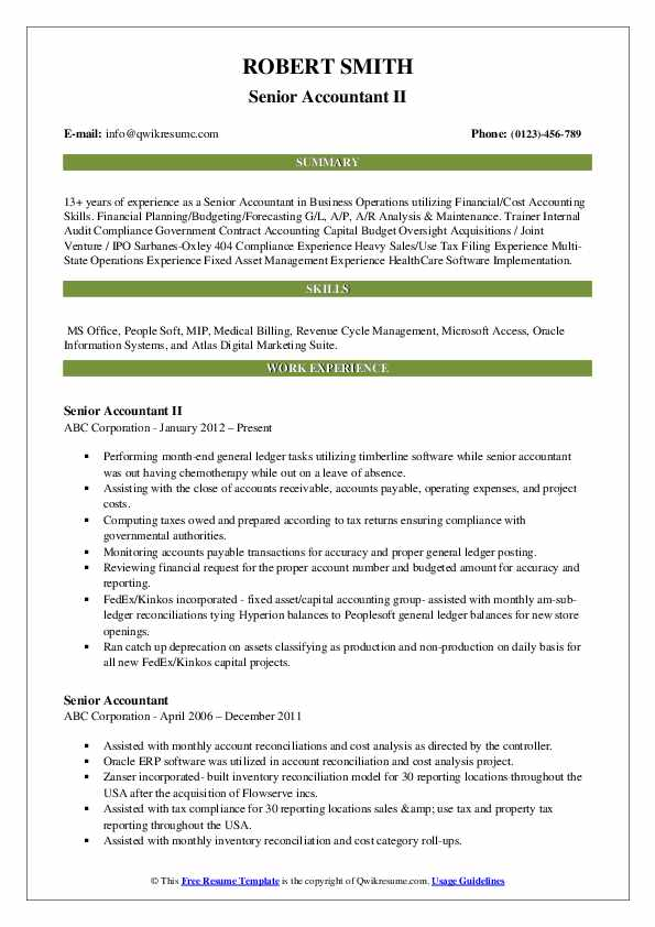 Senior Accountant Resume Samples Qwikresume