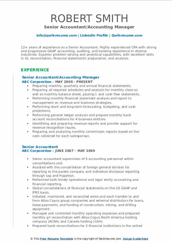 Senior Accountant/Accounting Manager Resume Template