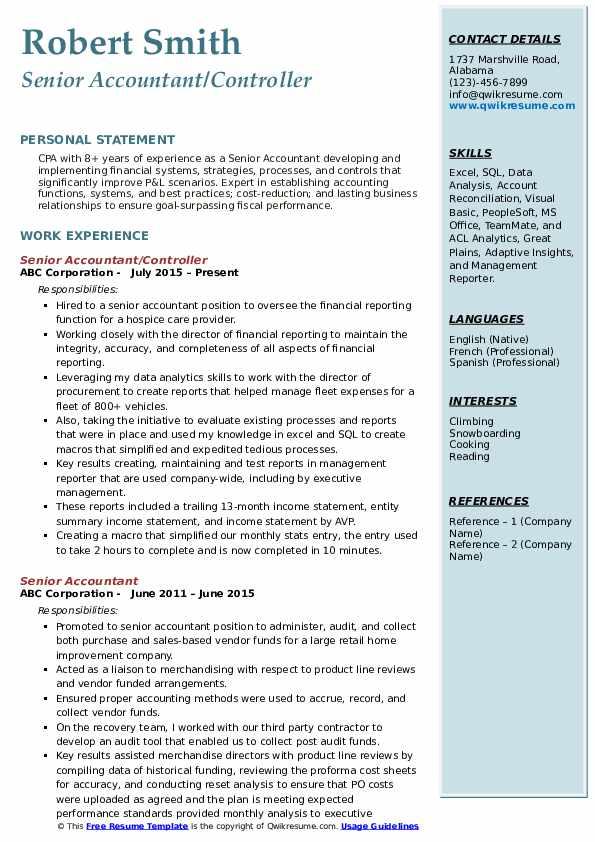 Senior Accountant/Controller Resume Example