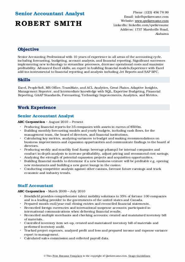 Senior Accountant Analyst Resume Sample