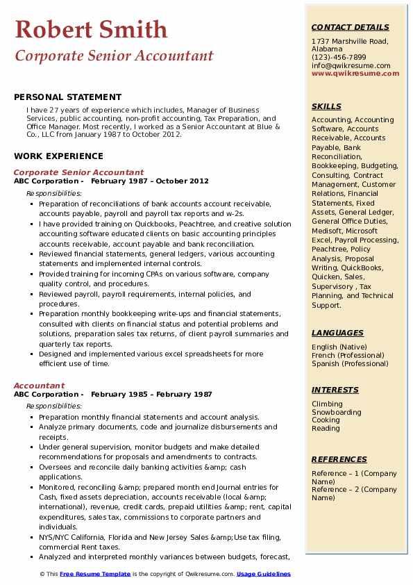 Corporate Senior Accountant  Resume Sample