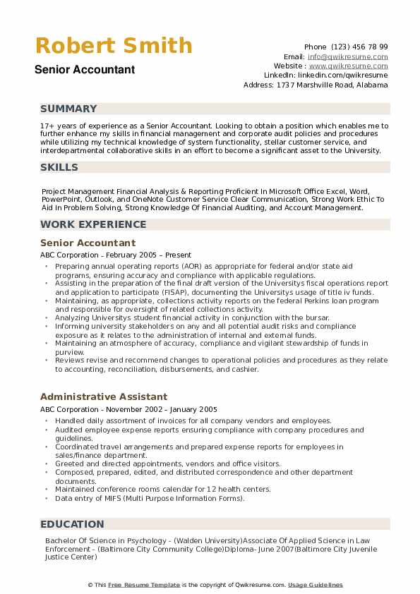 senior accountant resume samples