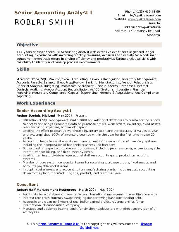 Senior Accounting Analyst I Resume Format