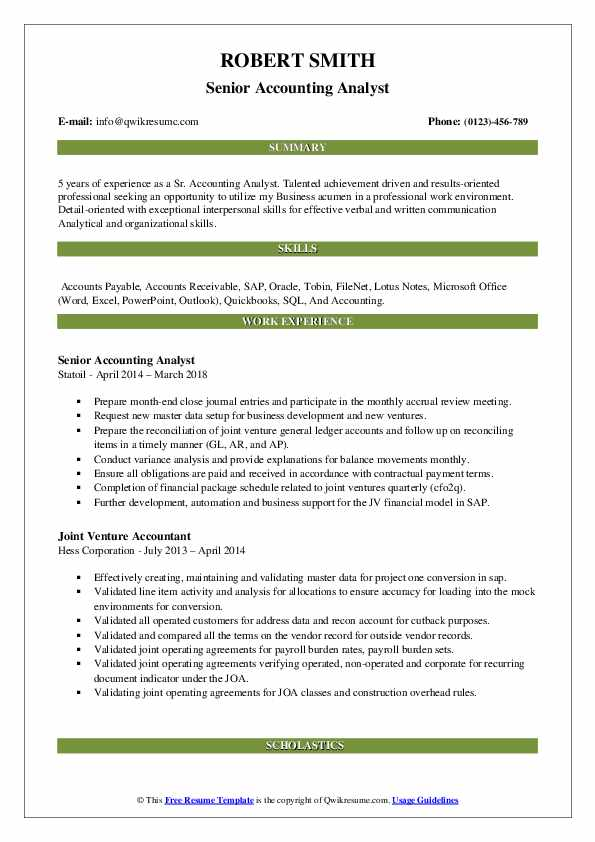 Senior Accounting Analyst Resume Format
