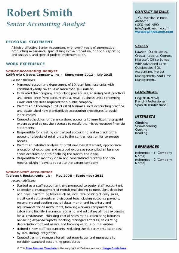 senior accounting analyst resume samples