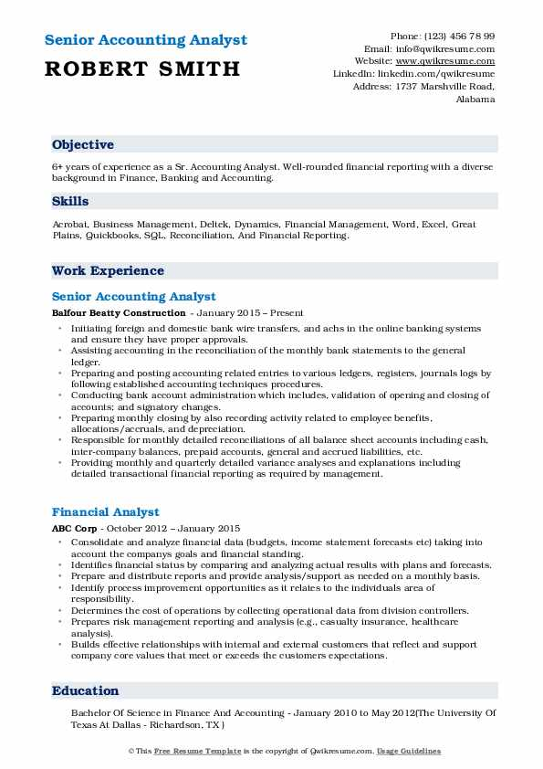 Senior Accounting Analyst Resume Sample