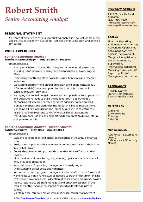 Senior Accounting Analyst Resume Template