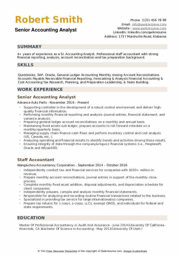 Senior Accounting Analyst Resume example