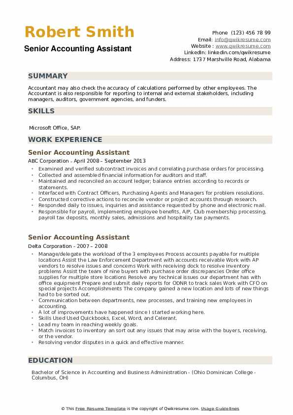Senior Accounting Assistant Resume example