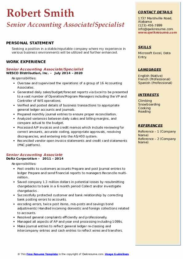 senior accounting associate resume samples  qwikresume