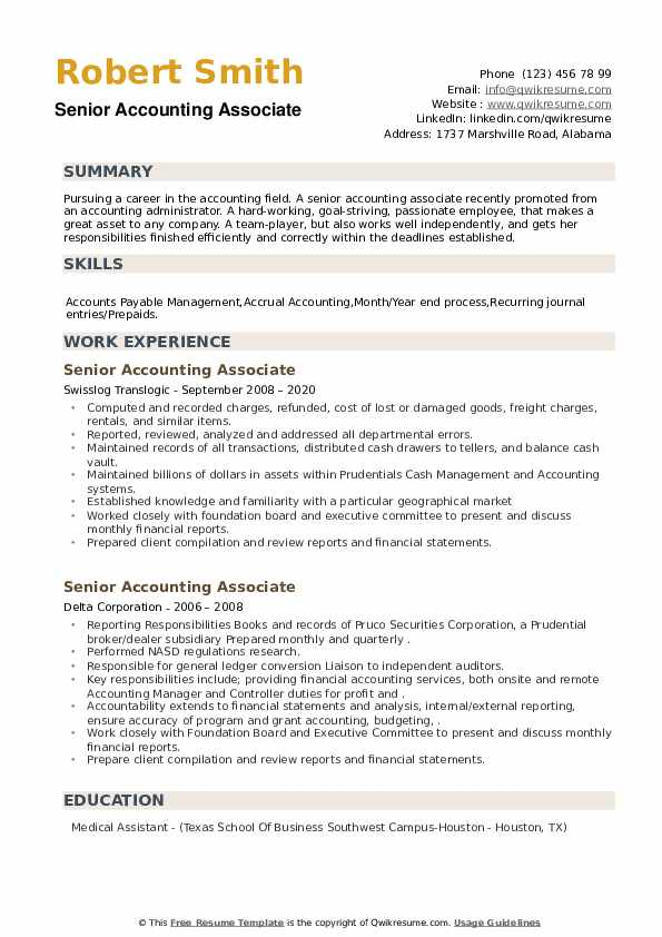 Senior Accounting Associate Resume example