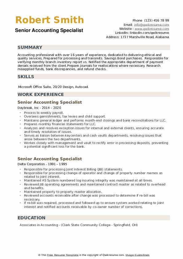 Senior Accounting Specialist Resume example