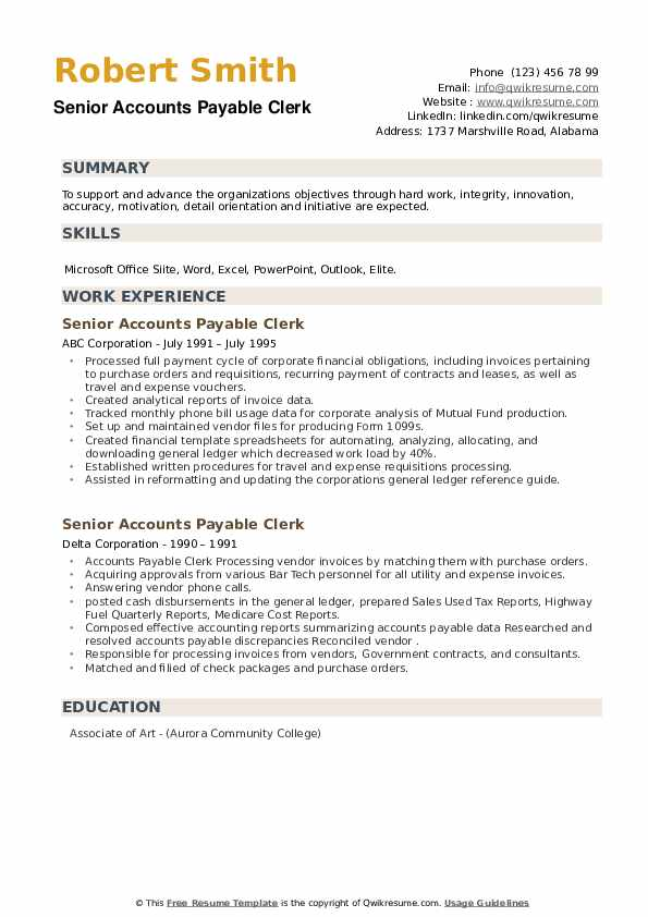 Senior Accounts Payable Clerk Resume example