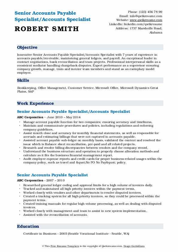 senior accounts payable specialist resume samples