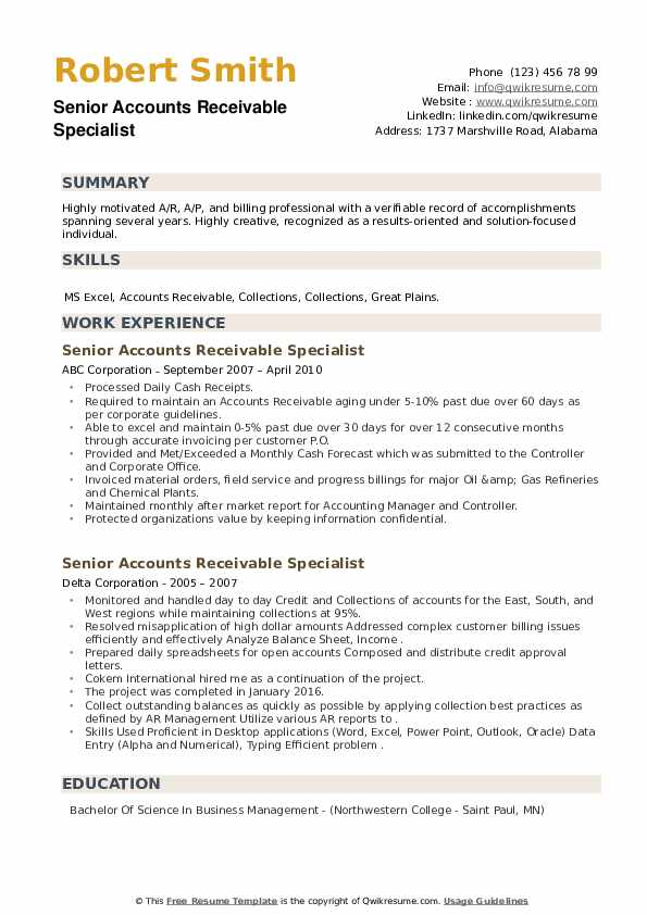 Senior Accounts Receivable Specialist Resume example