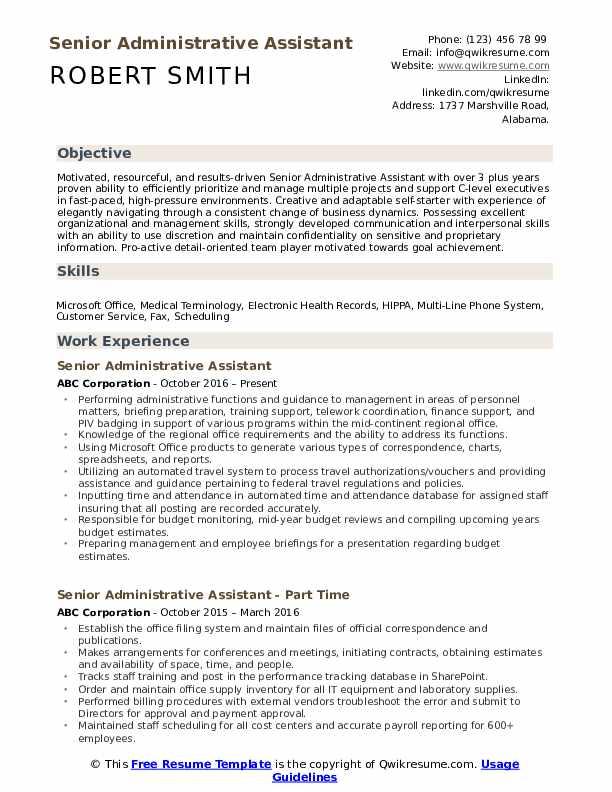 Senior Administrative Assistant Resume Model