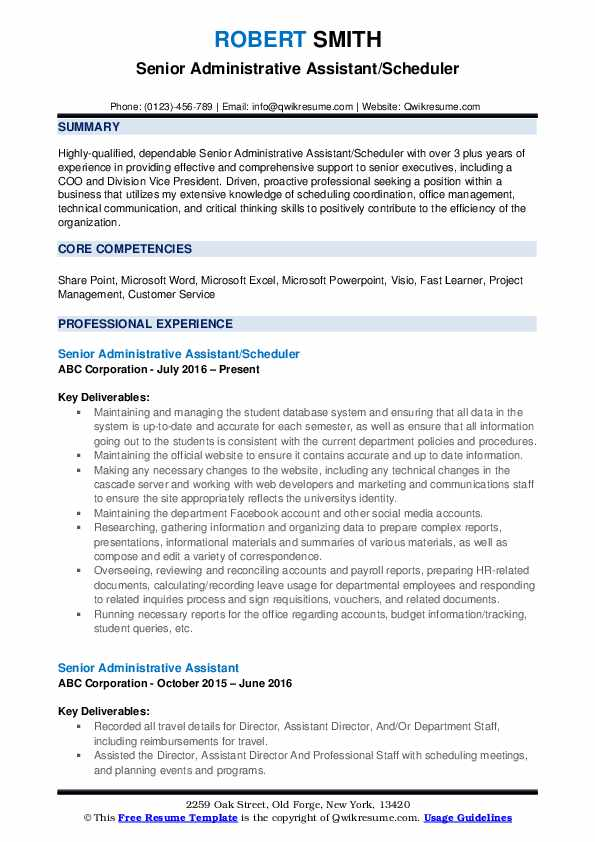 Senior Administrative Assistant/Scheduler Resume Template