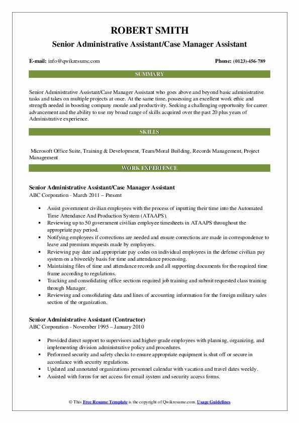 Senior Administrative Assistant/Case Manager Assistant Resume Model