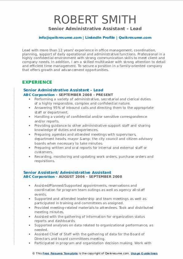 Senior Administrative Assistant - Lead Resume Example
