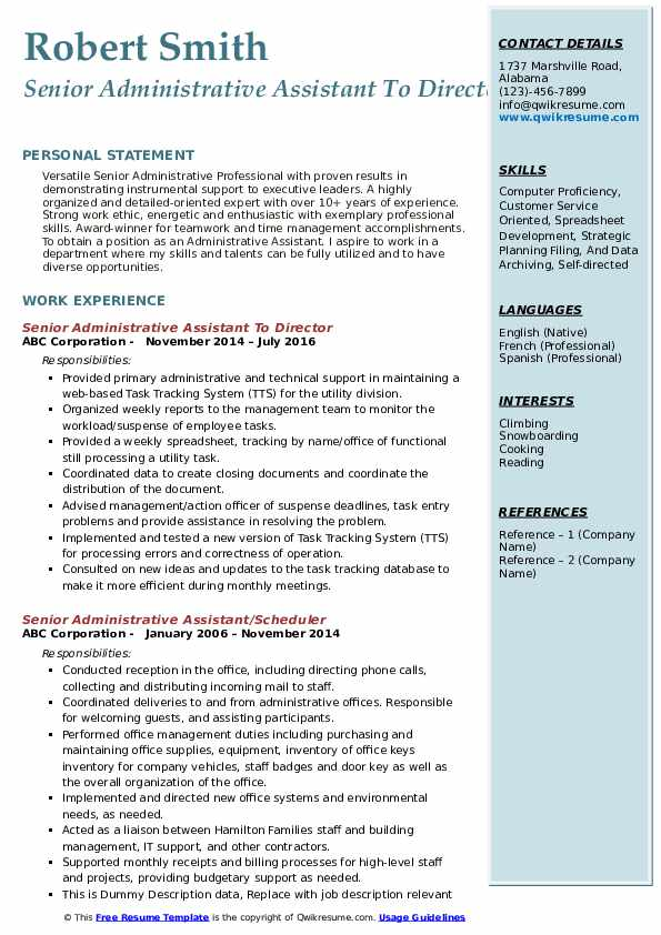 Senior Administrative Assistant To Director Resume Model