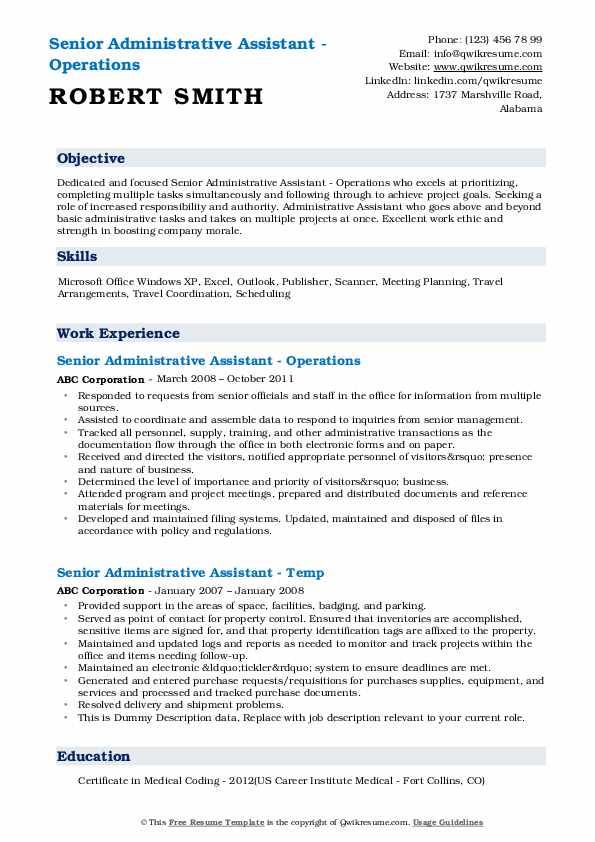Senior Administrative Assistant - Operations Resume Model