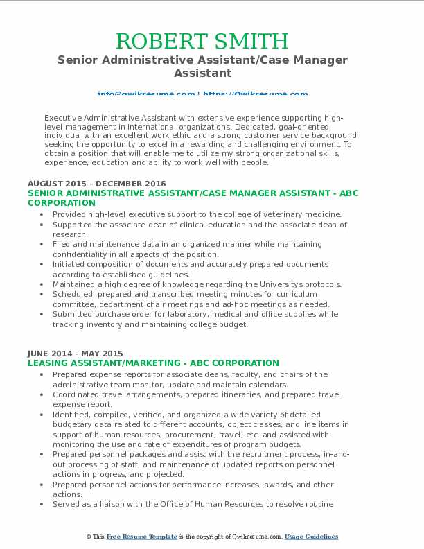 Senior Administrative Assistant/Case Manager Assistant Resume Sample