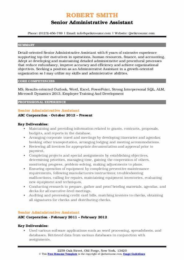 Senior Administrative Assistant Resume Example